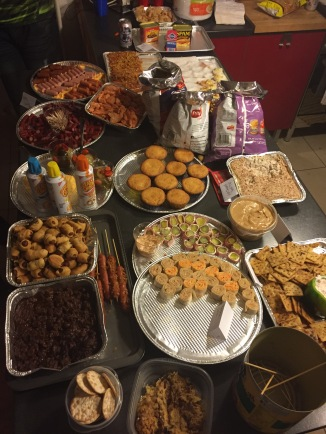 Redneck caviar & Sushi. Roadkill dip, pig in a blanket, Spam Hummus, boiled peanuts, Fried Bologna Sandwiches, Moonpies, twinkies, and more.